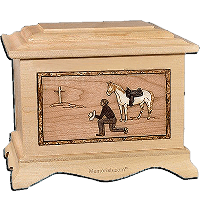 Cowboy Maple Cremation Urn for Two