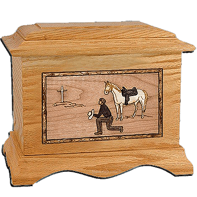 Cowboy Oak Cremation Urn for Two