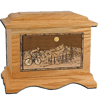 Cycling Oak Cremation Urn for Two