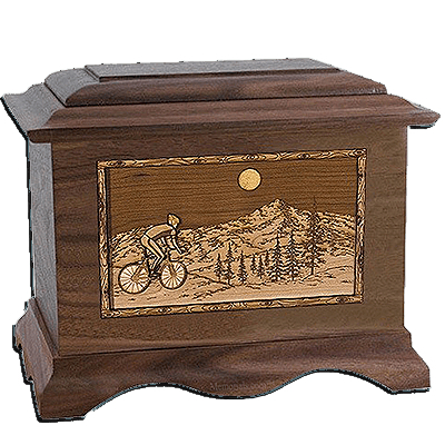 Cycling Walnut Cremation Urn For Two