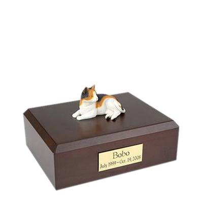 Calico Laying Small Cat Cremation Urn