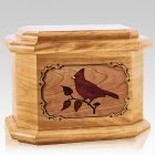 Cardinal Oak Octagon Cremation Urn