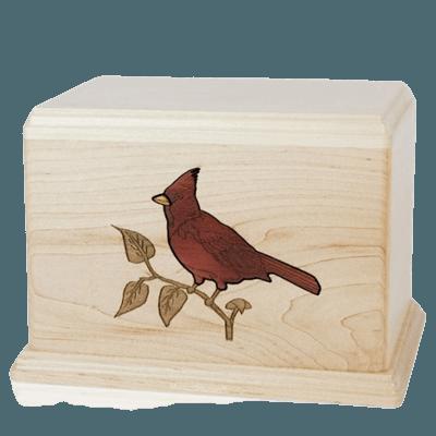 Cardinal Wood Cremation Urn
