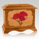 Carnation Mahogany Cremation Urn