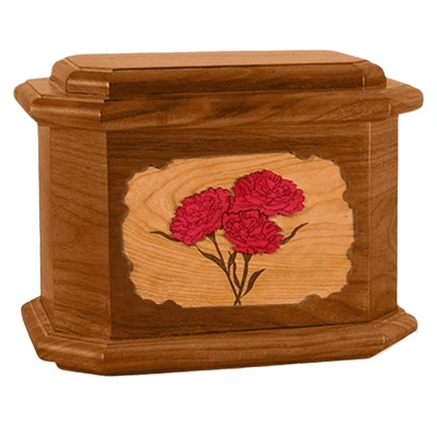 Carnation Mahogany Octagon Cremation Urn