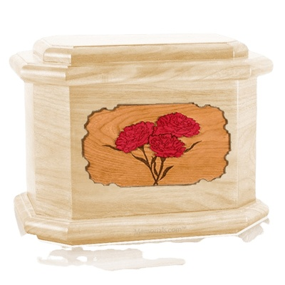 Carnation Maple Octagon Cremation Urn