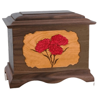 Carnation Walnut Cremation Urn