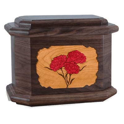 Carnation Walnut Octagon Cremation Urn