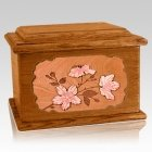 Cherry Blossom Mahogany Memory Chest Cremation Urn