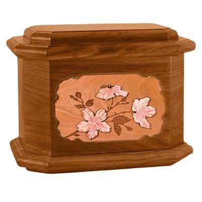 Cherry Blossom Mahogany Octagon Cremation Urn