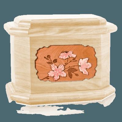 Cherry Blossom Maple Octagon Cremation Urn