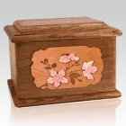 Cherry Blossom Walnut Memory Chest Cremation Urn