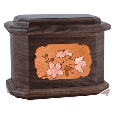 Cherry Blossom Walnut Octagon Cremation Urn