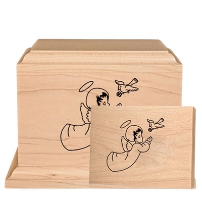 Cherub Children Wood Cremation Urns