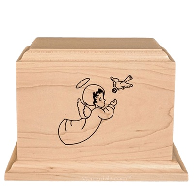 Cherub Children Wood Urn