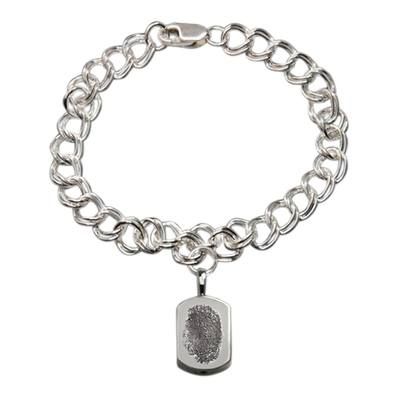 Classic 14k White Gold Cremation Print Bracelet