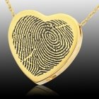 Classic Heart 14k Gold Cremation Print Keepsake