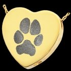 Classic Heart Paw 14k Gold Print Cremation Keepsake