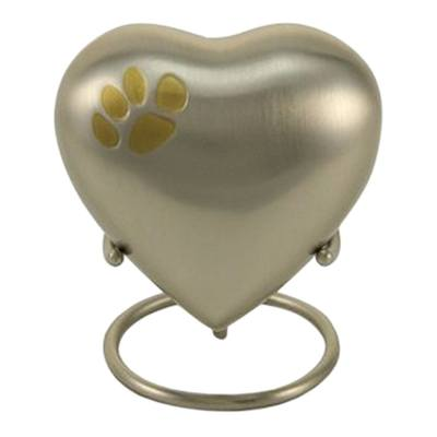 Classic Paw Print Heart Pewter Urn