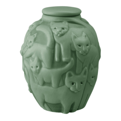 Clever Cat Apple Green Cremation Urn