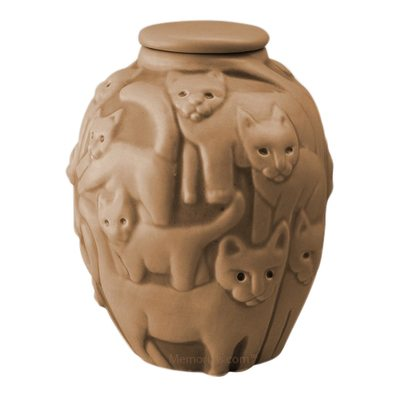 Clever Cat Mustard Cremation Urn