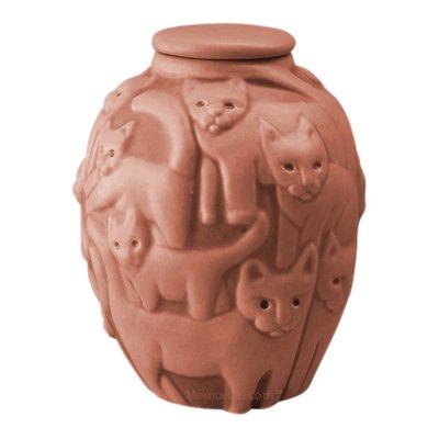 Clever Cat Terra Cotta Cremation Urn