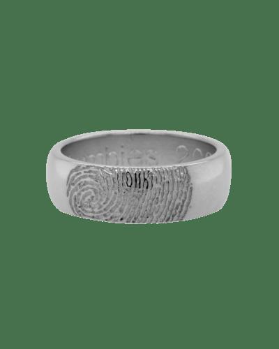 Partial Fingerprint White Gold Ring
