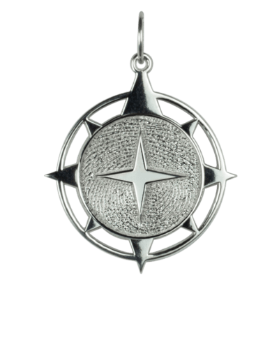 Compass Print Gold Keepsake Pendant