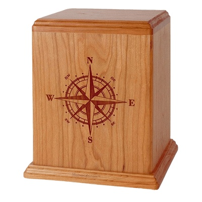 Compass Cherry Wood Cremation Urn