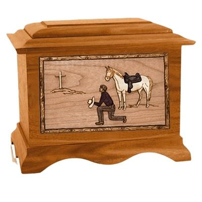 Cowboy Mahogany Cremation Urn