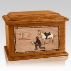 Cowboy Mahogany Memory Chest Cremation Urn