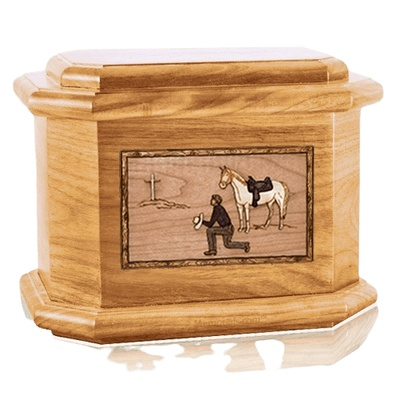 Cowboy Oak Octagon Cremation Urn