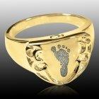 Crest 14k Gold Cremation Print Ring