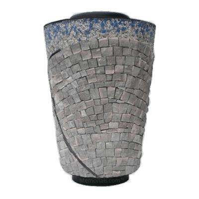 Rustic Cross Mosaic Cremation Urn