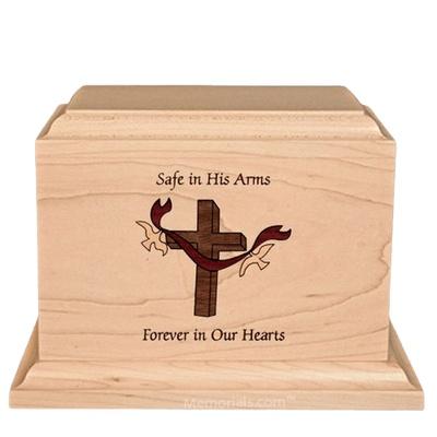 Cross Children Wood Urn