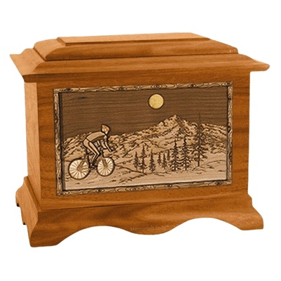 Cycling Mahogany Cremation Urn
