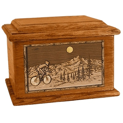 Cycling Mahogany Memory Chest Cremation Urn
