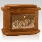Cycling Mahogany Octagon Cremation Urn