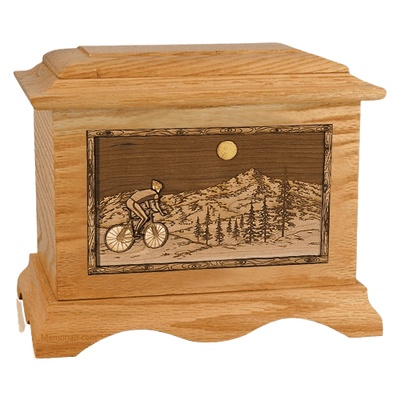 Cycling Oak Cremation Urn