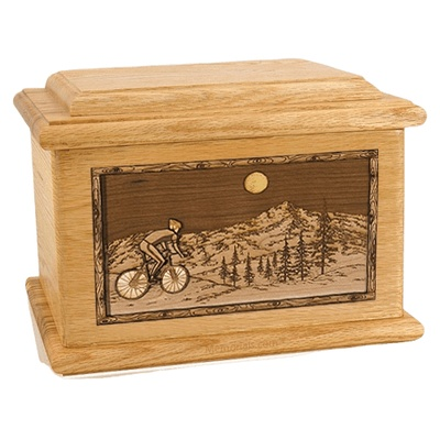 Cycling Oak Memory Chest Cremation Urn