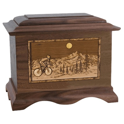 Cycling Walnut Cremation Urn