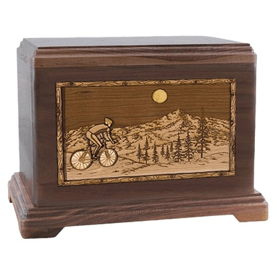 Cycling Walnut Hampton Cremation Urn