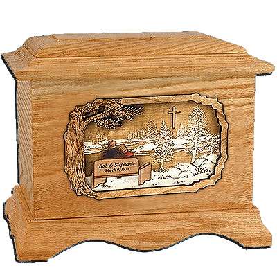 Devoted Oak Cremation Urn for Two