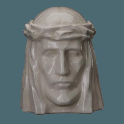 Christ Glossy White Cremation Urn
