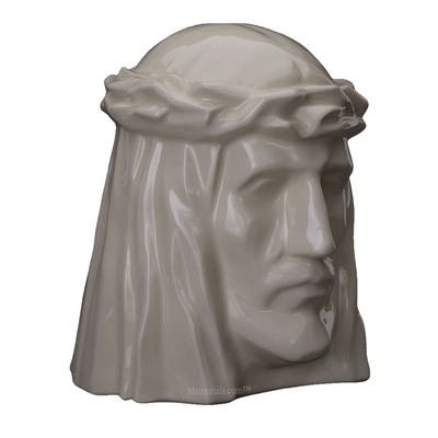 Christ Glossy White Cremation Urn
