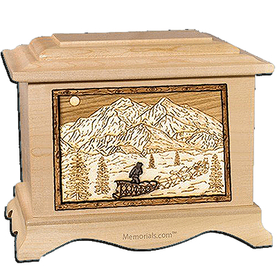 Dogsled Maple Cremation Urn for Two