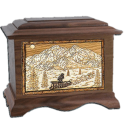 Dogsled Walnut Cremation Urn For Two