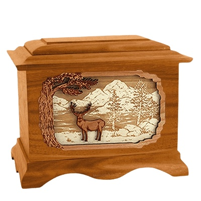 Deer Land Mahogany Cremation Urn