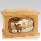 Deer Land Oak Memory Chest Cremation Urn