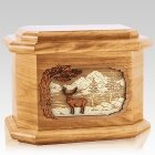 Deer Land Oak Octagon Cremation Urn